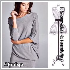 Off Shoulder Tunic Dress Stunning yet simple Heather grey tunic dress.  Featuring dolman sleeves for optimal fit and comfort. Made of cotton and spandex. Size S, M Threads & Trends Dresses