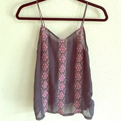 Flowy tank Dark gray and pink embroidered tank top Urban Outfitters Tops Tank Tops