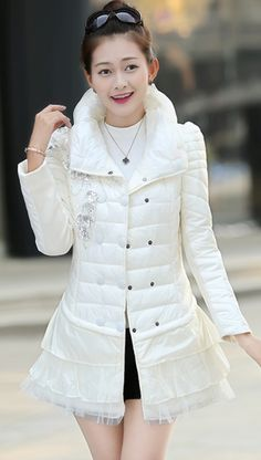 Stylish Down Coat with Embroidered Flower and Turtleneck YRB0391 ...
