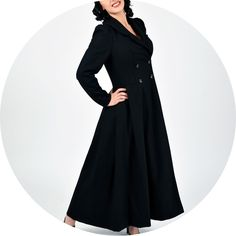 Glamorous Full Length Coat Black 1940s style vintage inspiration.