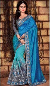 Sky Blue Color Net Silk Fabric Casual Wear Saris Blouse | FH513578164 #party , #wear, #saree, #indian, #festive, #fashion, #online, #shopping, #designer, #usa, #henna, #boutique, #heenastyle, #style, #traditional, #wedding, #bridel, #casual, @heenastyle , #blouse, #prestiched, #readymade, #stiched , #lehegasaris, #sari, #saris