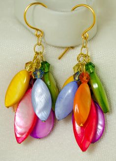 Rainbow Mother of Pearl & Crystal Dangling by LindyLeeTreasures