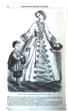 1864 Harper's New Monthly Magazine. Morning Costume. Robe (wrapper) of stone-colored cashmere with magenta or cherry silk tablier front, with tabs of same inserted into the cashmere and bordered with silk braid. Kerchief head-dress.