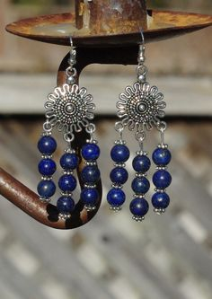 Lapis Lazuli Tibetan Sun Earrings ~ Chandelier Earrings ~ Bohemian Blue Stones ~ Healing Stones ~ Semi Precious Stone Jewelry ~ Gift for Her by AudacityWear on Etsy