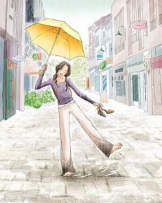 Illustration Tumblr, Illustrations, Mode Poster, Cute Couple Art, Umbrella Art, Anime Art Girl, Cartoon Art, Cute Drawings, Cute Art