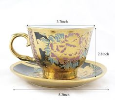 Amazon.com | Ambilight Porcelain 6-ounce Coffee Cup and Saucer Flora Chintz with Gold Trim, set of 1, Black, C5(1), outstanding decorative cups: Teacups