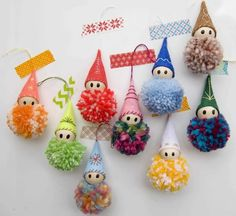 adornos con pompones – stacy schroeder ornaments with pom poms – stacy schroeder – Crochet Christmas Trees, Easy Christmas Crafts, Diy Christmas Ornaments, Simple Christmas, Christmas Decorations, Snowflake Ornaments, Christmas Cards, Crafts For Teens To Make, Crafts To Sell