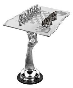 Chess set, aluminium (table) « Lorenzo Quinn