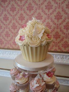 Giant wedding cupcake