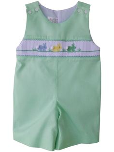 38840a6c0 Little Boy Shortall with Smocked Easter Bunnies in Green PRE - ORDER. – Carousel  Wear