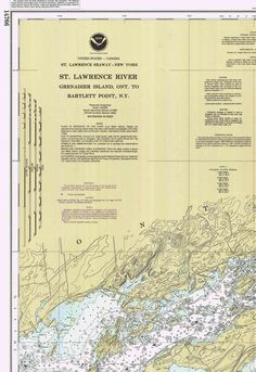 St Lawrence River Grenadier Island to Bartlett Point, Clayton Alexandria Bay Thousand Nautical Map Reprint-Great Lakes NY Saint Lawrence River, St Lawrence, Ship Map, Alexandria Bay, Thousand Islands, Old Wall, Wall Maps, Us Map, The St