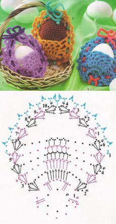 Вязаные корзиночки для пасхальных яиц | Вязаная сказка - Salvabrani Holiday Crochet Patterns, Crochet Toys Patterns, Filet Crochet, Crochet Motif, Hobbies And Crafts, Diy And Crafts, Pineapple Crochet, Halloween Crochet, Crochet Girls