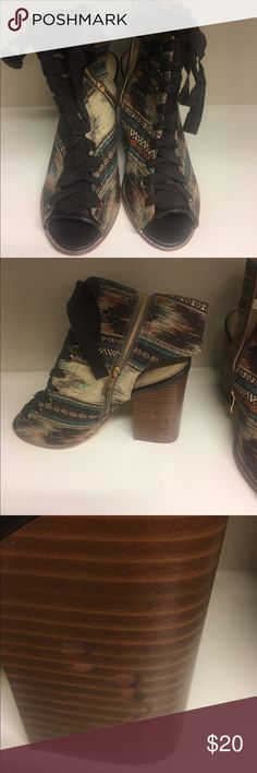 Aztec print booties These are so fun, can't remember for the life of me where I got them from, but I've worn them.  Some wear on the heels, but really not noticeable when on you feet. Shoes Ankle Boots & Booties