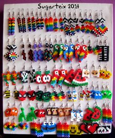 Perler beads earrings many styles u. Perler Earrings, Diy Perler Beads, Perler Bead Art, Pearler Beads, Mini Hama Beads, Bead Earrings, Hanging Earrings, Hama Beads Jewelry, Melty Bead Patterns