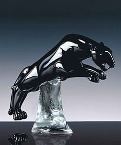 Murano glass panther on a crystal base