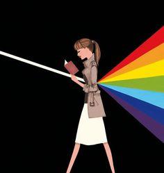 Colores tras la lectura (ilustración de Jordi Labanda) art, jordi labanda, book, labanda jordi, read, leer, dark side, ilustrado libro, rainbow