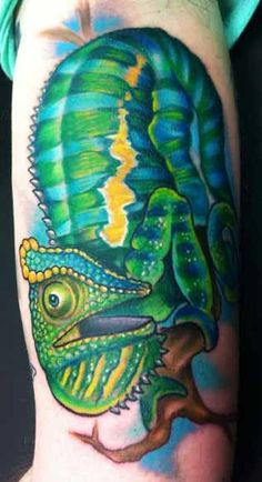 Katelyn Crane - Chameleon Tattoo. Beautiful, I've always been a sucker for color tattoos!