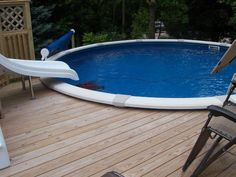 The deck height was set to leave access to install the winter cover for the pool.