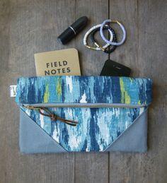 Blue Ikat Canvas Clutch Purse with Canvas Accents, Foldover Clutch Purse, Bridesmaid Clutch, Blue Ikat Bag