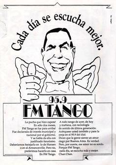Publicidad de la desaparecida FM TANGO. Radio Splendid FM 95.9, Buenos Aires, década del 90