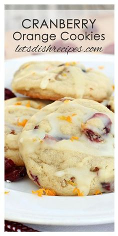 Cranberry Orange Cookies Cranberry and orange come together in this soft and chewy holiday drop cookie. Cookies From Cake Mix Recipes, Cooki. Cranberry Orange Cookies, Cranberry Recipes, Orange Recipes, Holiday Recipes, Cranberry Scones, Cookies Receta, Yummy Cookies, Cake Cookies, Desert Recipes