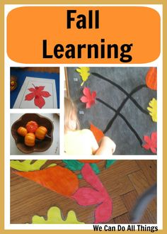 Fall Learning: colour matching, pumpkin and corn sensory bin, leaf puzzle, finding same