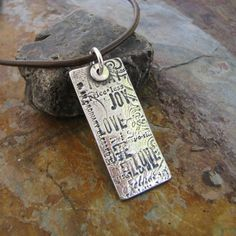 Personalized PMC Fine Silver Jewelry, Rustic Style Pendant, Hand Stamped and Engraved