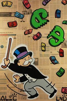 "Mr. Monopoly breaks open his money pinata.  Alec Monopoly ""MONOPS BEATING $ PINATA,"" Original mixed media on canvas, 150x100 cm. #pinata #popart #monopoly"