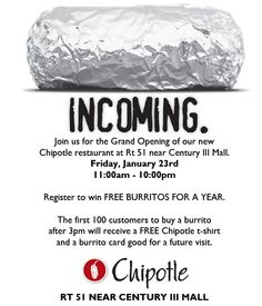 FREE BURRITOS FOR A YEAR http://www.pinterest.com/TakeCouponss/chipotle-coupons/