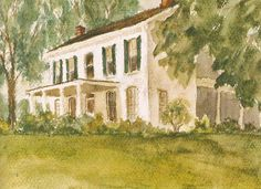 Mark Hampton ~ As a teenager, Hampton painted this watercolor of a house in Hendricks County, near Plainfield, Indiana.