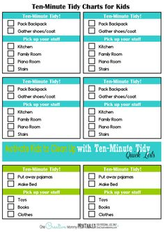 Learn how to get kids to clean up with editable, printable Ten-Minute Tidy Charts! {OneCreativeMommy.com} #cleaningtips #printable