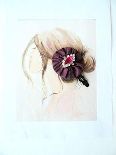 RESERVE-Barrette Taffetas Violet et Verre de Bohème Fuchsia : Accessoires coiffure par mon-armoire-jolie
