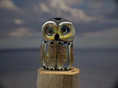 Orly lampwork owl beadsra double helix by DeniseAnnette on Etsy, $26.00