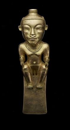 Female Shaman Pendant DATE: AD MEDIUM: Gold DIMENSIONS: Overall: 9 ¼ × 3 × 2 in. × × cm) The greatest artworks of the Quimbaya culture were gold poporos, containers that held powdered mineral lime to be chewed with coca leaves in. Historical Artifacts, Ancient Artifacts, Colombian Art, Kunsthistorisches Museum, Ancient Mysteries, Gold Work, Effigy, Museum Of Fine Arts, Ancient Civilizations