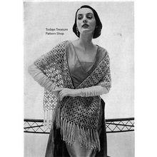 Sheer Lace Stole Crochet Pattern with long fringed ends l  Vintage Knit Crochet Pattern Shop