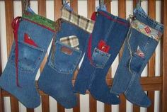 Old Wrangler and Carhartt jeans turned into stockings.