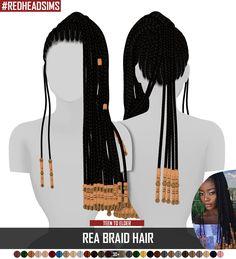 The Sims 4 najlepsze mody do gry: Fryzura REA BRAID od Redheatsims Afro Hair Sims 4 Cc, Sims 4 Curly Hair, Sims 4 Mods Clothes, Sims 4 Clothing, Sims 4 Cc Skin, Sims Cc, Sims 4 Black Hair, The Sims 4 Cabelos, Sims 4 Gameplay