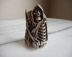 vintage 1986 g & s silver grim reaper skull and sickle ring size 9 made in usa by RabiaYMiel on Etsy Gothic Rings, Sterling Silver Mens Rings, Biker Style, Grim Reaper, Friends In Love, Beautiful Rings, Jewelry Shop, Vintage Items, Rings For Men