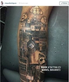 Neymar Jr..'s newest tattoo shows a young boy dreaming of leaving the Favelas to make it in football...