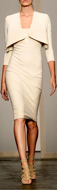 Donna Karan ~ Ivory Midi Dress w Cropped Jacket