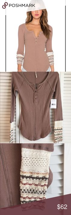 NWT Free People Ski Lodge Cuff Thermal Brand new, unworn item.  Sold out online!  Love this color, it's called mushroom combo.  1 size XS and 1 size Small are left for purchase.  Retails for $68 plus tax.  Please remember Posh takes 20% of each sale! Free People Tops Tees - Long Sleeve