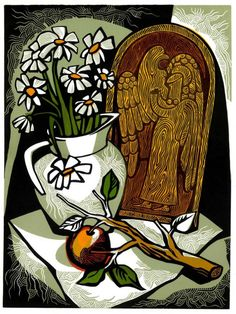 VASE of WHITE DAISIES linocut still life