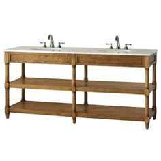 Montaigne Weathered Oak Finish Double Bathroom Vanity with Two Open Shelves and White Natural Marble Top