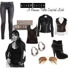 Biker Chick / Gemma Teller Inspired by thez0mbieslayer on Polyvore featuring polyvore, fashion, style, A|Wear, Sundry, Switchblade Stiletto, Paige Denim, Dolce Vita, H&M and Urban Decay