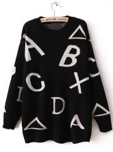 #SheInside Black Long Sleeve Letters Patterned Pullover Sweater 0.00