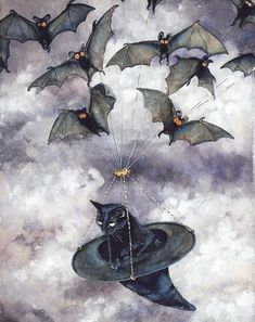 Black Cat flying with Bats in a witch hat; a perfect Halloween picture :) Halloween Pictures, Halloween Cat, Vintage Halloween, Happy Halloween, Samhain Halloween, Whimsical Halloween, Halloween Artwork, Halloween Halloween, Halloween Costumes