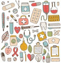 Imagens, fotos stock e vetores similares de Health care and medicine elements set in cartoon style. Doodle Icon, Doodle Art, Doodle Patterns, Print Patterns, Cartoon Style, Medicine Illustration, Medical Drawings, Nurse Art, Note Doodles