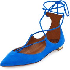Aquazzura Christy Lace-Up Pointed-Toe Suede Flat (12468210 BYR) ❤ liked on Polyvore featuring shoes, flats, mondrian blue, flat shoes, tie shoes, blue suede shoes, lace up flats and lace up shoes
