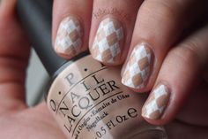 Nude and White #Argyle #nailart #cultnails stamping