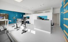 kinesitherapie praktijk te Wilrijk #blue #Dark #Prolicht #reception #Gymna #medical #physiotherapy #renovation #practice #Armstrong by architime